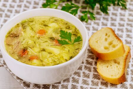Chicken noodle soup in white plate with parsley and bread. Archivio Fotografico