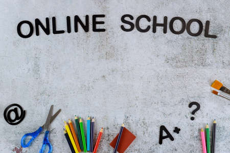 Home school or online school concet background with text.