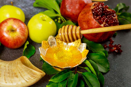 Honey stick with honey, pomegranate and apple. Rosh Hashanah concept.