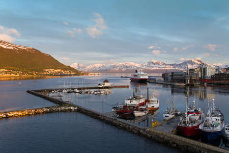 View of the port, during the white nights, in northern Norway