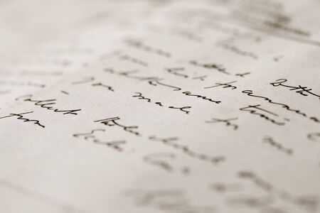 manuscrita: A close up with a narrow depth of field of a hand-written letter