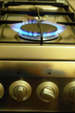 gas stove: Gas stove. Kitchen equipment. Stock Photo