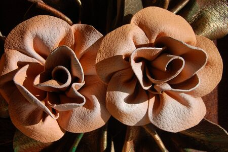 applique flower: Old painting. Leather. Stock Photo