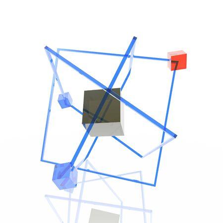 Unusual atom consisting of color transparent cubes photo