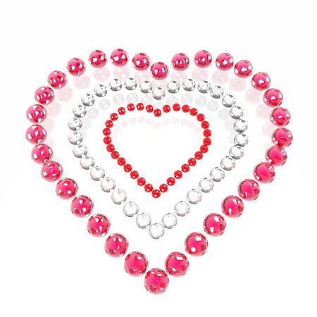 the enamoured: Valentine from red enamoured spheres Stock Photo