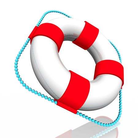 swimming belt: White lifebuoy ring with red strips, with a blue cord