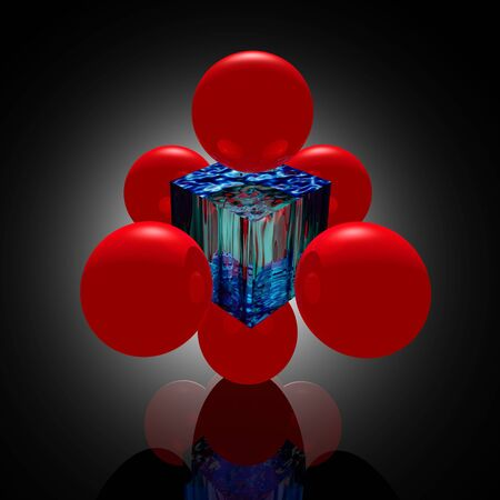 nodal: Red molecule from spheres and a piece of an ice