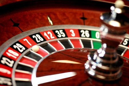turning table: Casino roulette weel with little ball Stock Photo