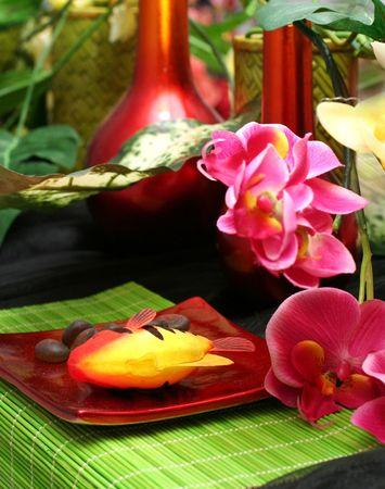 ikebana flower on table Imagens