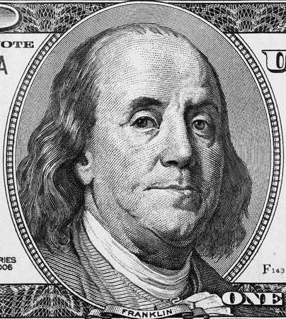 franklin: Franklin portrait on one hundred american dollar close up