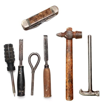 Old rust tools group on white background photo