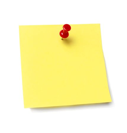 Sticky note held by a pushpin waiting for your message. Add your own text or design. photo