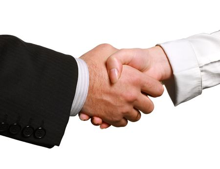 clasped hand: Perfect business handshake, isolated on white, blurred, space for copy Stock Photo
