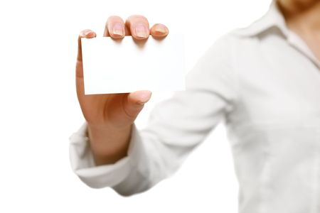 Young woman holding a blank card on white Stock Photo - 4125551