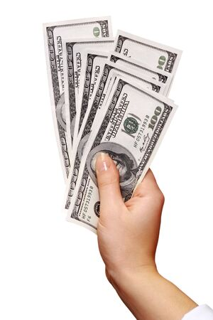 shemale: American money in hand isolated on white Stock Photo