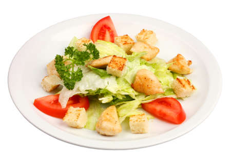 chicken caesar salad: A classic chicken caesar salad with vegetables