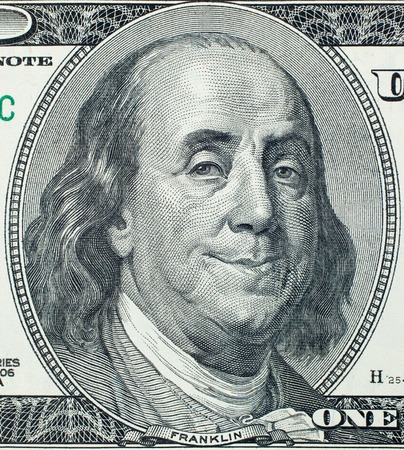 benjamin: Pleased President Benjamin Franklin portrait on 100 US dollar bill
