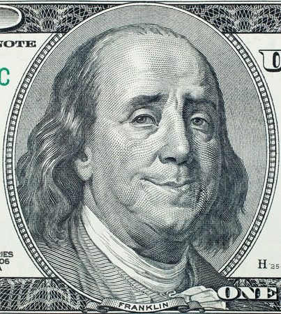 franklin: Happy President Benjamin Franklin portrait on 100 US dollar bill