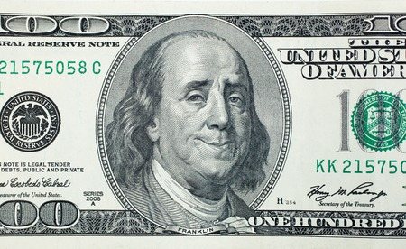 Happy President Benjamin Franklin on 100 US dollar bill Foto de archivo