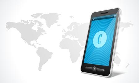 illustraion: Mobile phone and world map icon vector illustraion