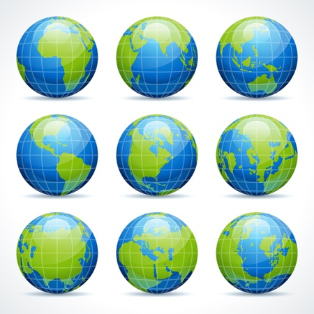Globe earth icon set vector design elements Illustration