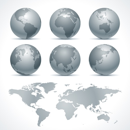 pacific ocean: Globe earth icon set vector design elements Illustration