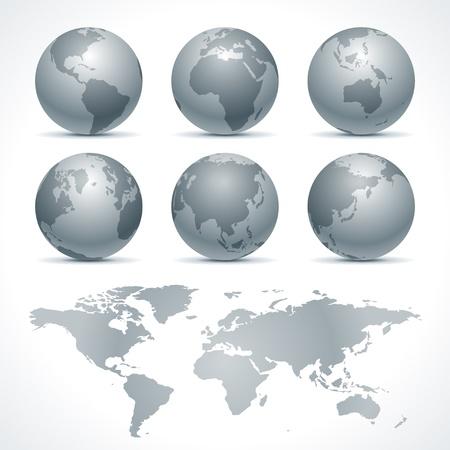 south east asia: Globe terra icon set elementi di disegno vettoriale