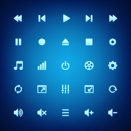 Media player vector icons set  Vector