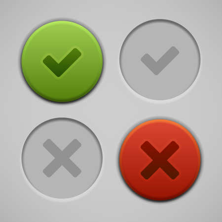 Web site check vector buttons and icons set  Vector