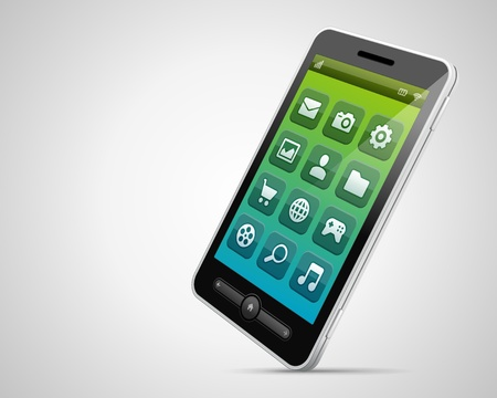 Mobile phone and icons vector backgroud Vector