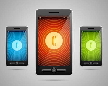 illustraion: Mobile phone and  incoming call cons set vector illustraion