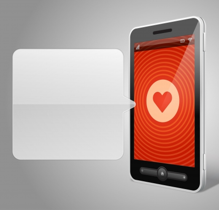 touchphone: Tel�fono m�vil y coraz�n icono vector backgroud