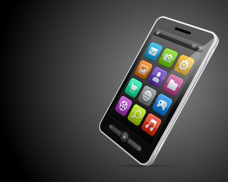 Mobile phone and icons vector backgroud