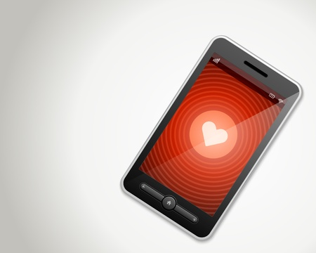Mobile phone and heart icon vector backgroud Vector