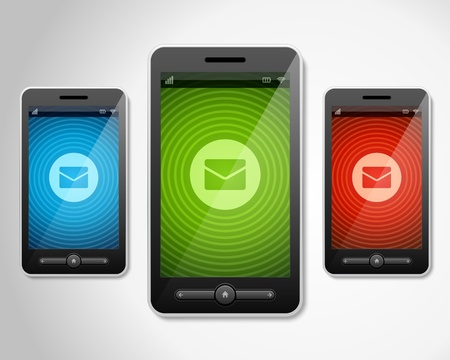 illustraion: Mobile phone and  incoming message icons set vector illustraion Illustration