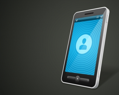 touchphone: Mobile phone and profile icon vector backgroud