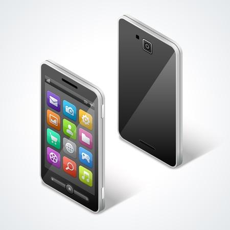 illustraion: Mobile phone isometric and icons vector illustraion