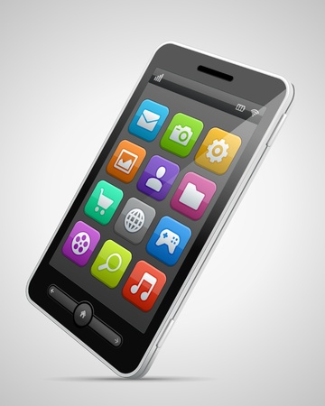 illustraion: Mobile phone and icons vector illustraion Illustration