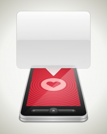 backgroud: Mobile phone and heart icon vector backgroud