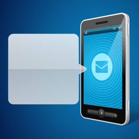 phone symbol: Mobile phone and incoming message icon vector backgroud Illustration