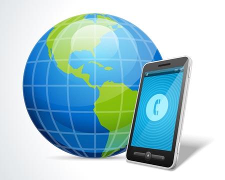 illustraion: Mobile phone and globe icon vector illustraion Illustration
