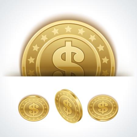 monet: Dollars money coins in perspective vector design elements Illustration