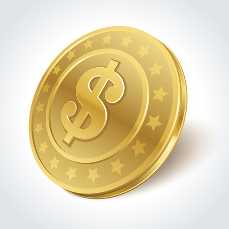 gold coin: Dollars money coin in perspective vector design element Illustration
