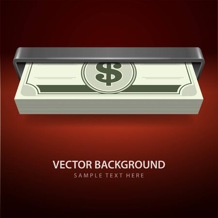 usd: Dollars money from cash machine vector background Illustration