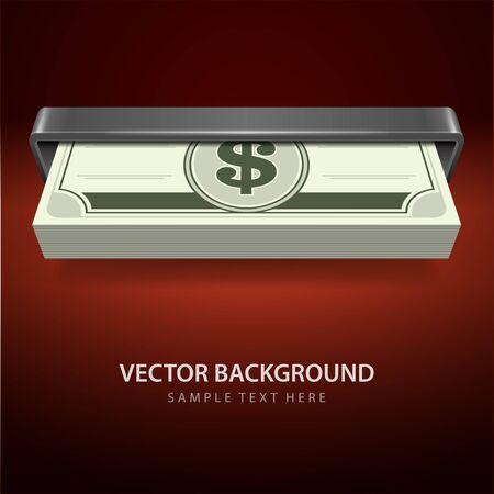 cash machine: Dollars money from cash machine vector background Illustration