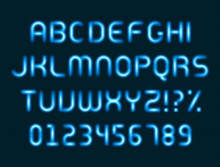 neon alphabet: Neon light alphabet letters font vector design elements