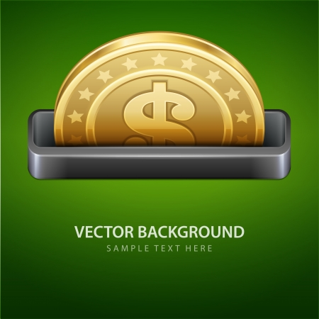 currency symbol: Dollars money coin from cash machine vector background
