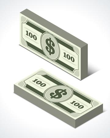 Dollars money isometric perspective vector design elements Stock Vector - 14760565