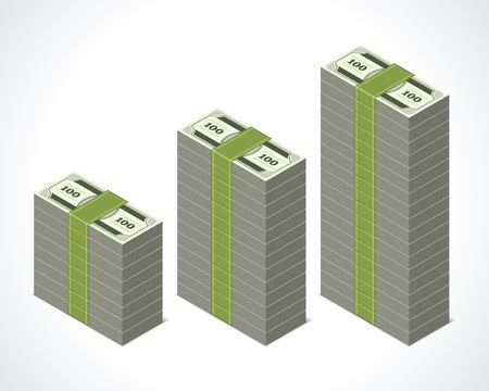 bundles: Dollars money graph in perspective vector design elements