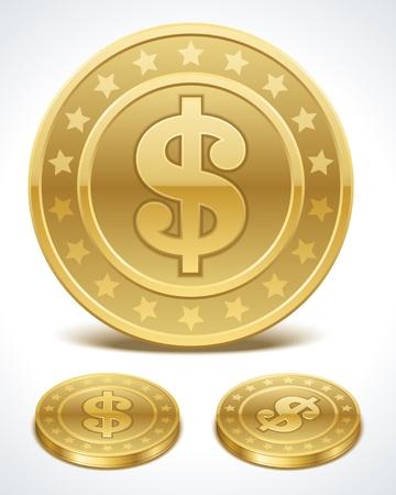 piece d or: Pi�ces de monnaie Dollars d'argent dans les �l�ments en perspective conception de vecteur Illustration
